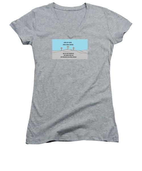 King Jesus Women's V-Neck T-Shirt (Junior Cut) by Linda Velasquez