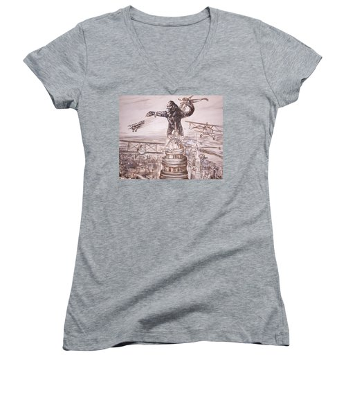 King Kong - Atop The Empire State Building Women's V-Neck T-Shirt