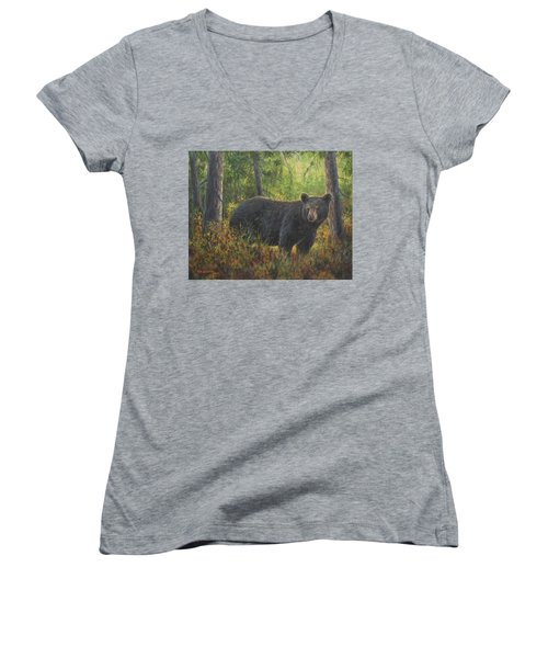 Women's V-Neck T-Shirt (Junior Cut) featuring the painting King Of His Domain by Kim Lockman