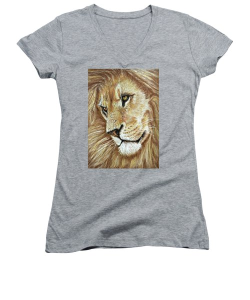 Women's V-Neck T-Shirt (Junior Cut) featuring the drawing King Of The Jungle by Heidi Kriel
