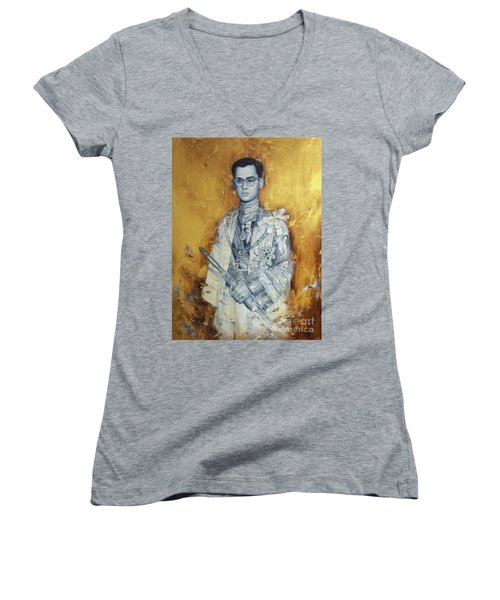 Women's V-Neck T-Shirt (Junior Cut) featuring the painting King Phumiphol by Chonkhet Phanwichien