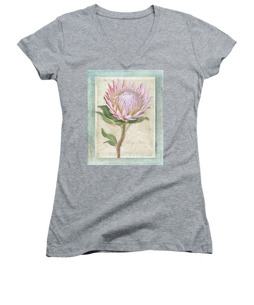 Women's V-Neck T-Shirt featuring the painting King Protea Blossom - Vintage Style Botanical Floral 1 by Audrey Jeanne Roberts