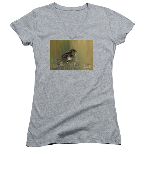 King Quail Chick Women's V-Neck T-Shirt