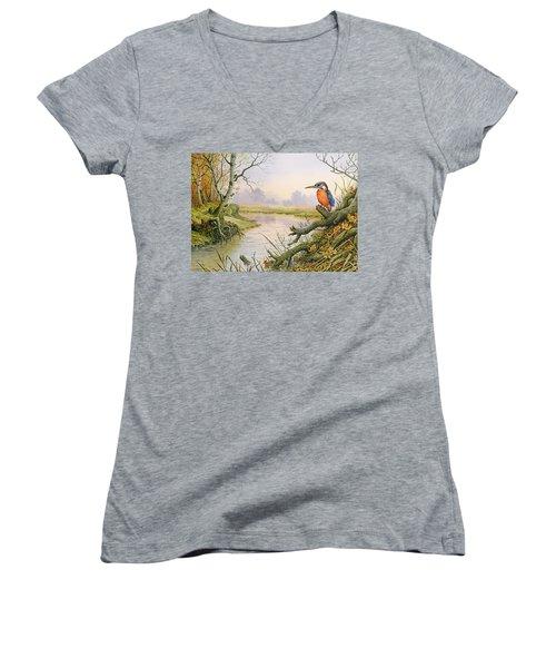 Kingfisher  Autumn River Scene Women's V-Neck (Athletic Fit)
