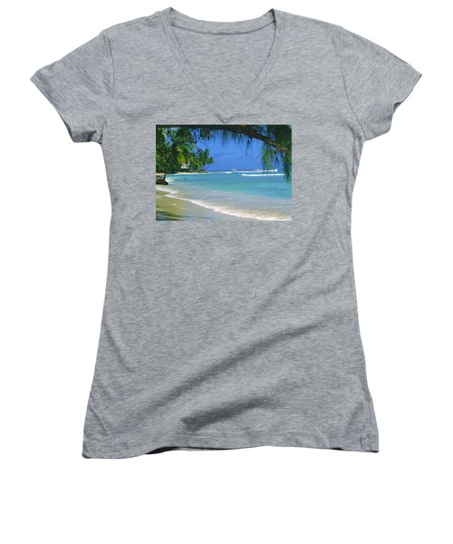 King's Beach, Barbados Women's V-Neck (Athletic Fit)