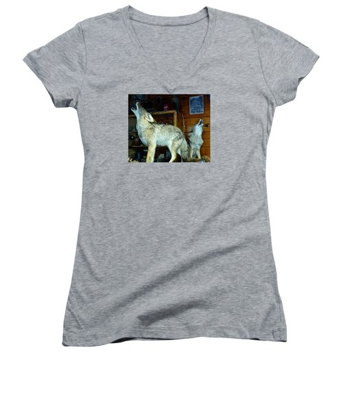 Kings Canyon Lodge Coyotes Women's V-Neck T-Shirt (Junior Cut) by Amelia Racca