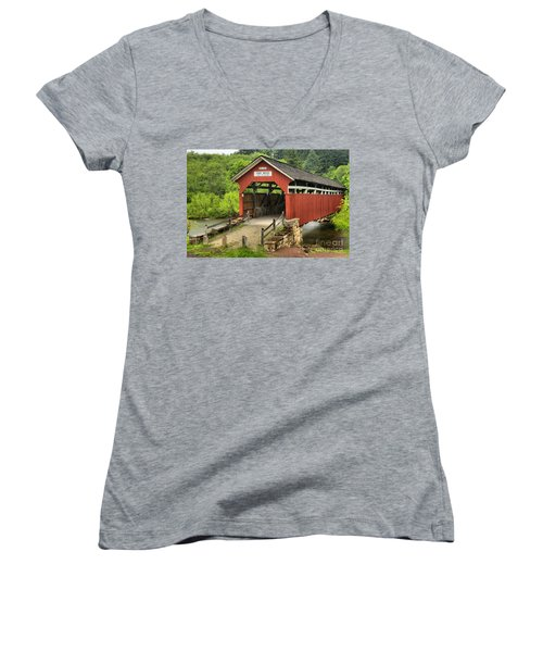 Kings Covered Bridge Somerset Pa Women's V-Neck (Athletic Fit)