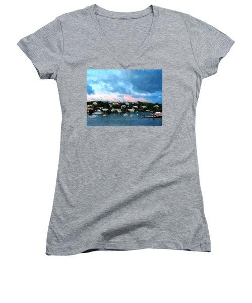 King's Wharf Bermuda Harbor Sunrise Women's V-Neck T-Shirt (Junior Cut) by Susan Savad