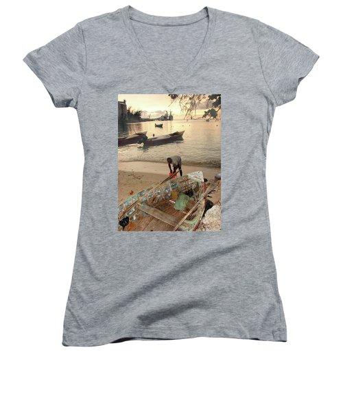 Kingston Jamaica Beach Women's V-Neck T-Shirt