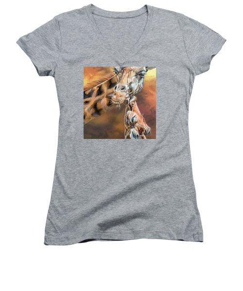 Women's V-Neck T-Shirt featuring the mixed media Kiss For Mama by Carol Cavalaris