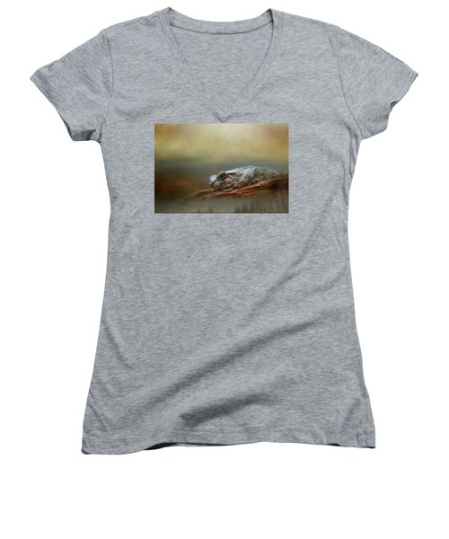 Kiss Me Women's V-Neck T-Shirt (Junior Cut) by Steven Richardson