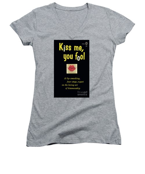 Women's V-Neck T-Shirt (Junior Cut) featuring the painting Kiss Me, You Fool by Unknown Artist