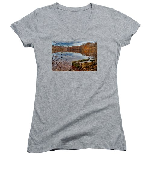 Kiss My Bass Women's V-Neck T-Shirt (Junior Cut) by Craig Szymanski