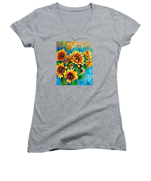 Women's V-Neck T-Shirt (Junior Cut) featuring the painting Kissed By God by Karen Showell