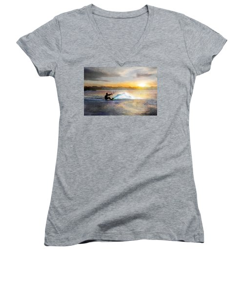 Kite Boarding At Sunset Women's V-Neck T-Shirt
