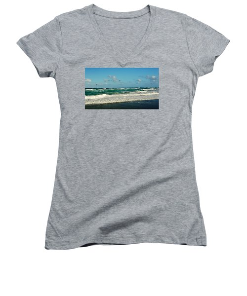 Kite Surfing Women's V-Neck T-Shirt (Junior Cut) by John Wartman