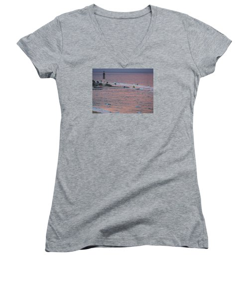 Kiteboarding At Hillsboro Women's V-Neck T-Shirt