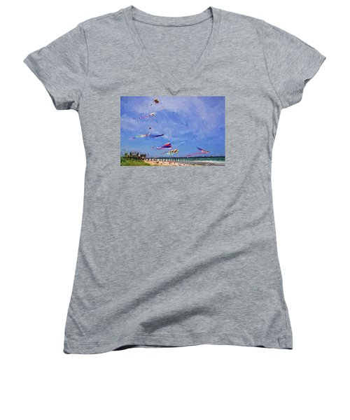 Women's V-Neck featuring the photograph Kites At The Flagler Beach Pier by Alice Gipson