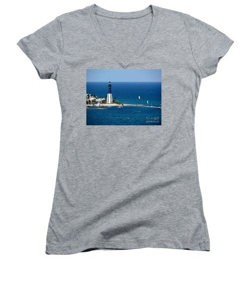 Kitesurfing And More At Pompano Women's V-Neck (Athletic Fit)
