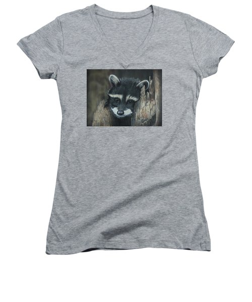 Kit...the Baby Raccoon Women's V-Neck T-Shirt