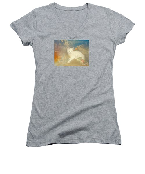 Women's V-Neck T-Shirt (Junior Cut) featuring the photograph Kitty Art Precious By Sherriofpalmsprings by Sherri  Of Palm Springs