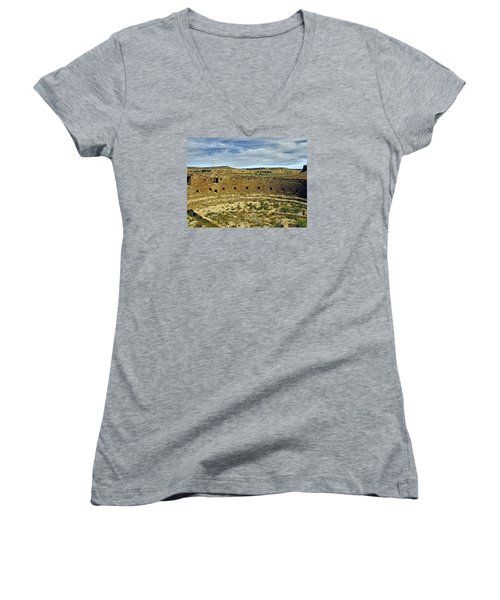 Women's V-Neck T-Shirt (Junior Cut) featuring the photograph Kiva View Chaco Canyon by Kurt Van Wagner
