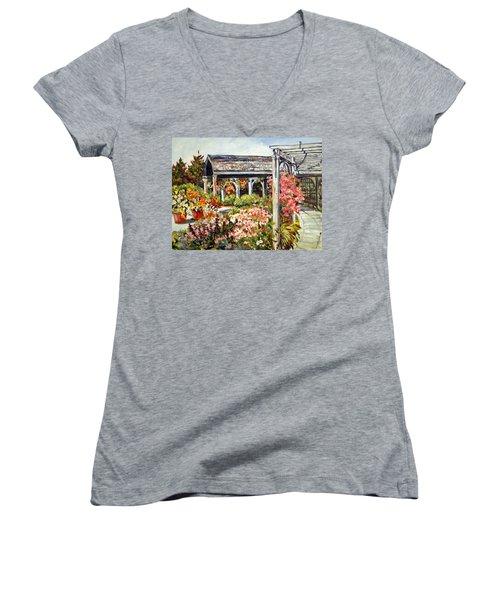 Klehm Arboretum I Women's V-Neck T-Shirt (Junior Cut) by Alexandra Maria Ethlyn Cheshire