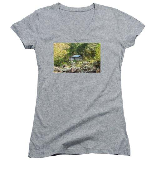 Women's V-Neck T-Shirt (Junior Cut) featuring the photograph Klepzig Mill by Julie Clements