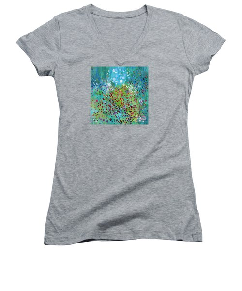 Women's V-Neck T-Shirt (Junior Cut) featuring the painting Klimt's Garden by Stacey Zimmerman