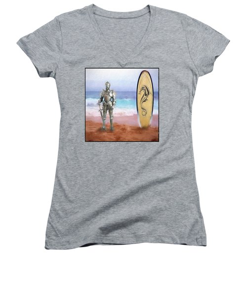 Women's V-Neck T-Shirt (Junior Cut) featuring the painting Knights Landing by Michael Cleere