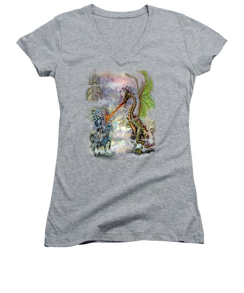 Knights N Dragons Women's V-Neck T-Shirt (Junior Cut) by Kevin Middleton