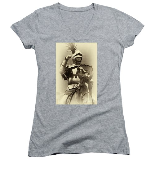 Women's V-Neck T-Shirt (Junior Cut) featuring the photograph Knights Of Old 16 by Bob Christopher