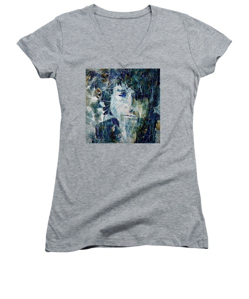 Women's V-Neck T-Shirt (Junior Cut) featuring the painting Knocking On Heaven's Door by Paul Lovering