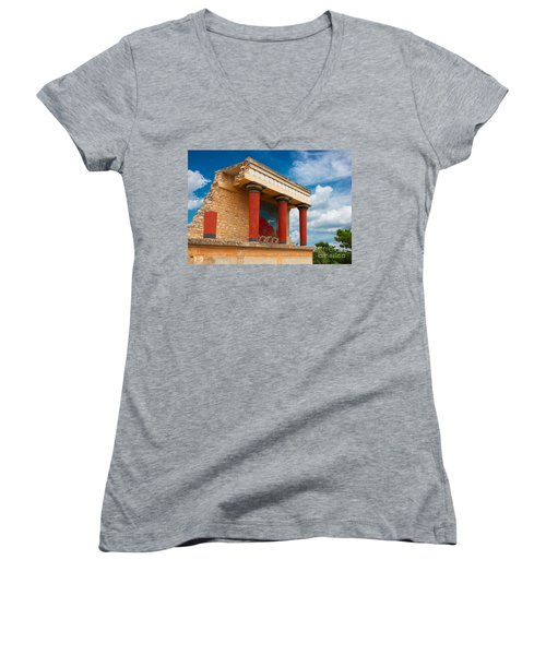 Knossos Palace At Crete, Greece Women's V-Neck (Athletic Fit)