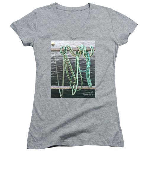 Women's V-Neck T-Shirt (Junior Cut) featuring the photograph Knot Of My Warf II by Stephen Mitchell