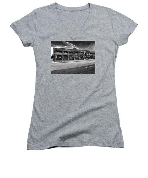 Knuckle Saloon Sturgis Women's V-Neck T-Shirt (Junior Cut) by Richard Wiggins