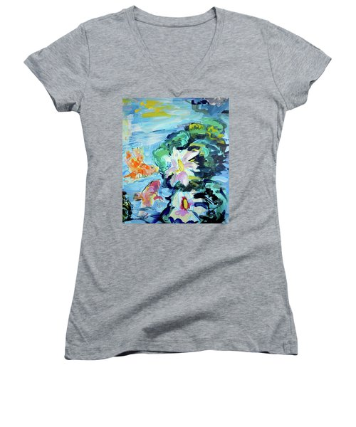 Koi Fish And Water Lilies Women's V-Neck (Athletic Fit)