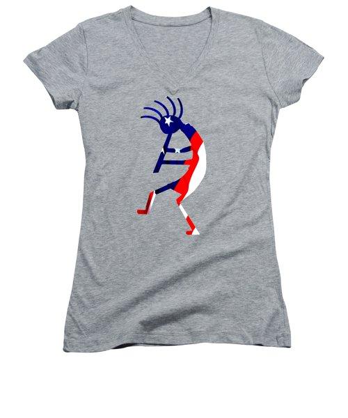 Kokopelli - Patriotic Women's V-Neck T-Shirt (Junior Cut) by William Bartholomew