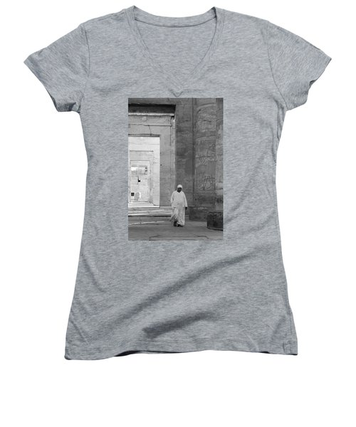 Kom Ombo Temple Women's V-Neck T-Shirt (Junior Cut) by Silvia Bruno