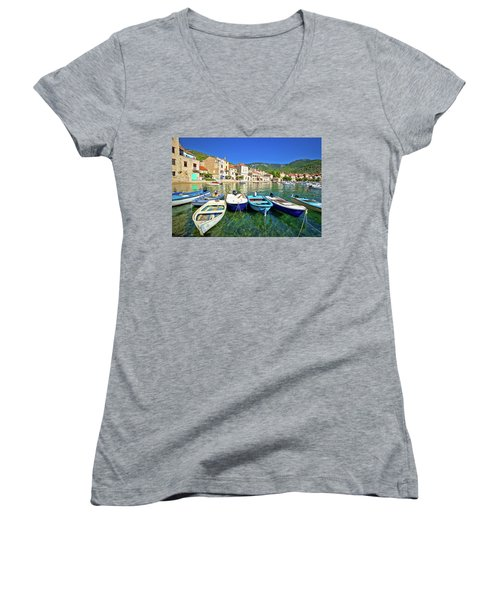Komiza On Vis Island Turquoise Waterfront Women's V-Neck T-Shirt (Junior Cut) by Brch Photography