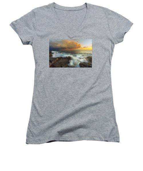 Women's V-Neck T-Shirt (Junior Cut) featuring the photograph Kona Rush Hour by Ryan Manuel