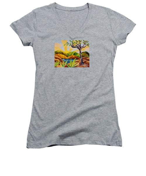 Women's V-Neck T-Shirt (Junior Cut) featuring the painting Kookaburra Landscape by Judy Via-Wolff