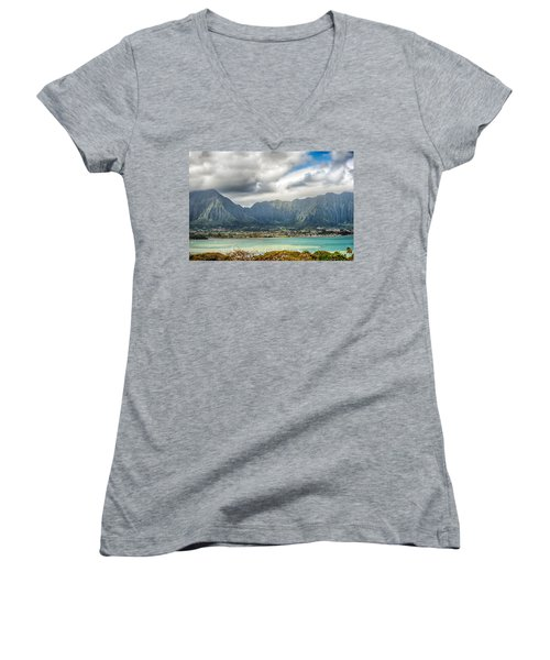 Ko'olau And H-3 In Color Women's V-Neck