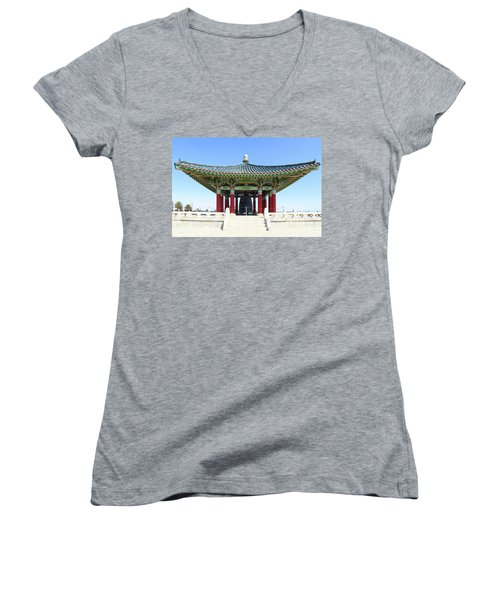 Korean Friendship Bell In Los Angeles Women's V-Neck (Athletic Fit)