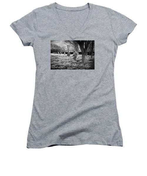 Korean War Memorial Women's V-Neck T-Shirt (Junior Cut) by Paul Seymour