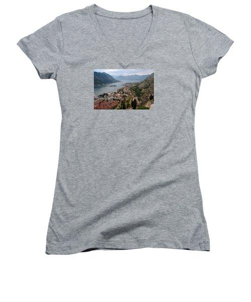 Women's V-Neck T-Shirt (Junior Cut) featuring the photograph Kotor Bay by Robert Moss