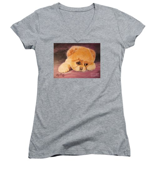 Women's V-Neck T-Shirt (Junior Cut) featuring the painting Koty The Puppy by Sigrid Tune