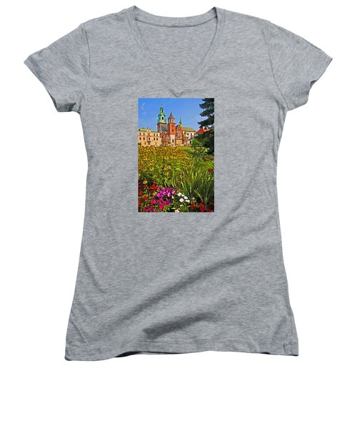 Krakow Castle Women's V-Neck T-Shirt (Junior Cut) by Dennis Cox WorldViews