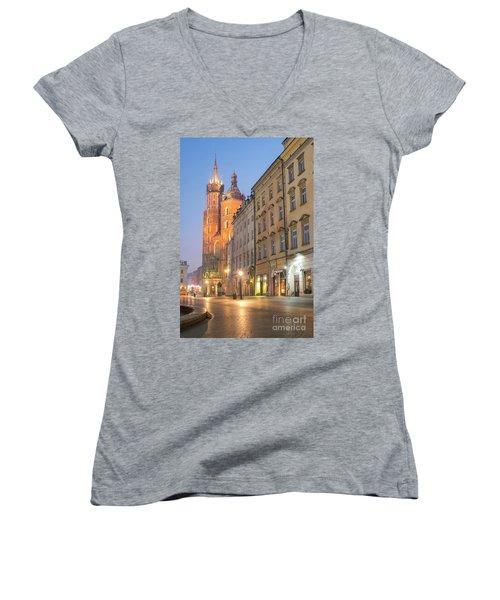 Women's V-Neck T-Shirt (Junior Cut) featuring the photograph Krakow by Juli Scalzi