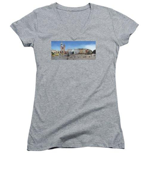 Krakow, Town Square Women's V-Neck T-Shirt